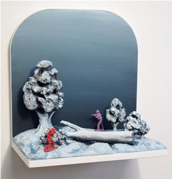 Fajten vid Hammarbyhill, b32xh33xd19 cm, MDF, polystyren, kartong och akrylfärg, 2010