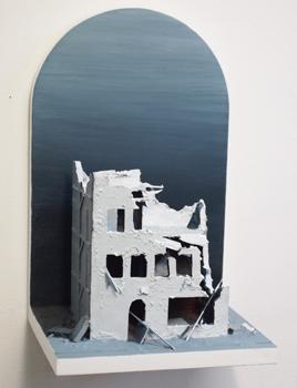 Kungsgatan 10, b21x h33x d19 cm, MDF, polystyren, kartong och akrylfärg, 2010
